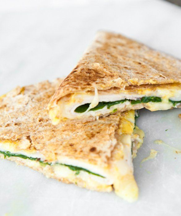 : Ham and Cheese Quesadillas with Jarlsberg cheese, ham, baby spinach ...