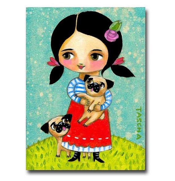 Original PUG dog painting TWO pugs out on a walk cute by tascha