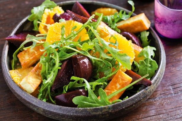 Roasted beetroot and haloumi salad main image