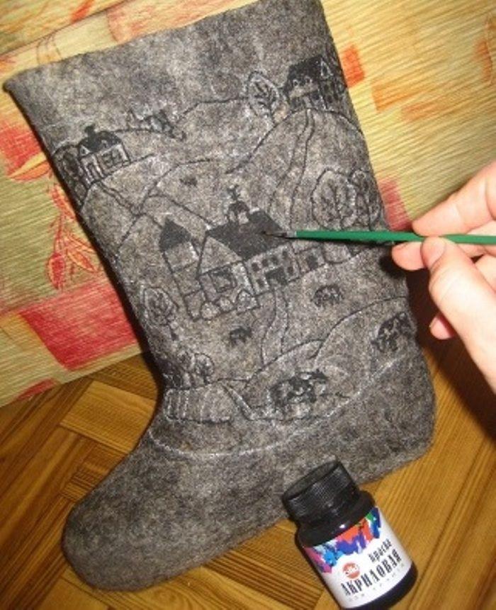 Как покрасить валенки Рисование узоров с помощью акриловой краски