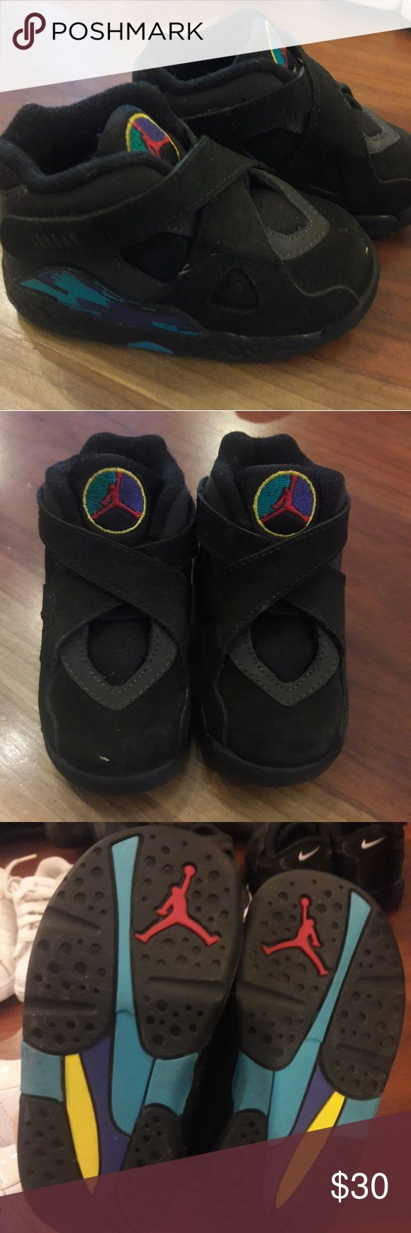 Toddler baby sz 5 Jordan 8 aqua shoes, LIKE NEW So cute Jordan Shoes Sneakers