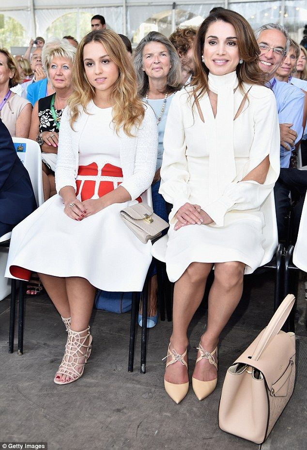 dailymail:  Queen Rania and daughter Princess Iman attended the Medef Summer 2015 University Conference in France, August 26, 2015