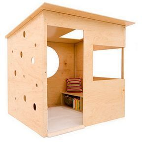 This modern playhouse is an easy DIY project using 16mm pine plywood or OSB (oriented strand board), both of which are affordable board materials that can be placed outdoors after being treated with a suitable exterior sealer or varnish.