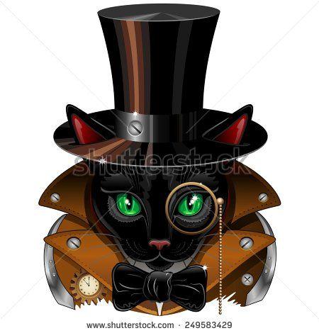 Uploaded and SOLD! #Vector #Steampunk #Black #Cat #Portrait! on #Shutterstock! ^_^  http://www.shutterstock.com/it/pic-249583429/stock-vector-steampunk-black-cat-portrait.html?src=&ws=1