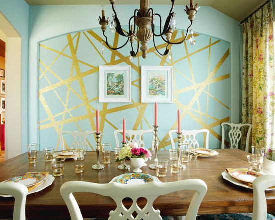 Cool Room Painting Designs for Your Home: Cool Room Painting Designs In Eclectic Dining Room With Flat Paint And Metallic Paint, Chandelier, And Cutlery Set On The Table ~ shlomlom.com Home Design Inspiration