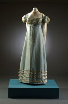 """Duck egg"" blue taffeta dress with cream net and satin trim, English, 1817-1821."