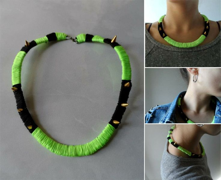 Neon spike necklace by Macaroni&Style.  https://www.facebook.com/photo.php?fbid=344579762320210&set=a.255780707866783.52292.250924128352441&type=3&theater