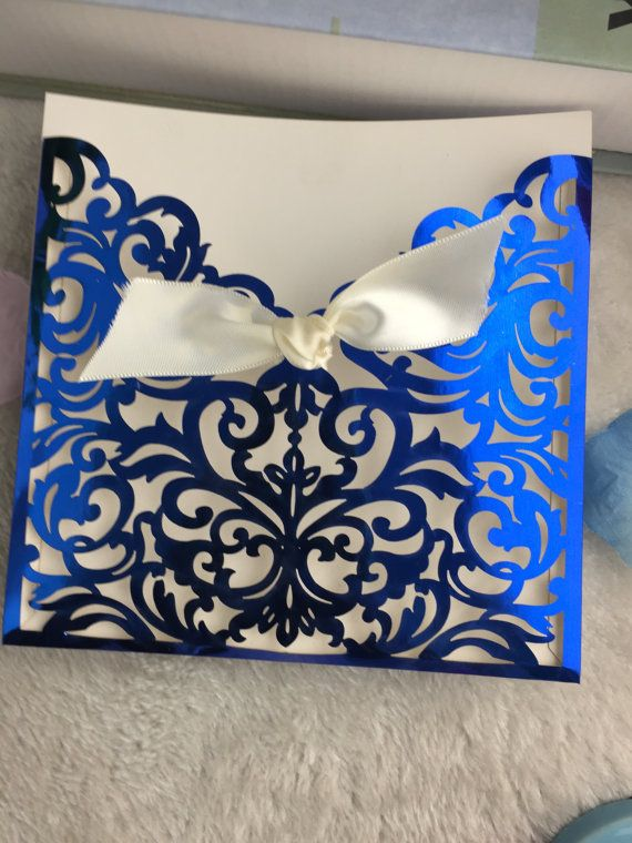 30sets electric blue Laser cut wedding invitations with