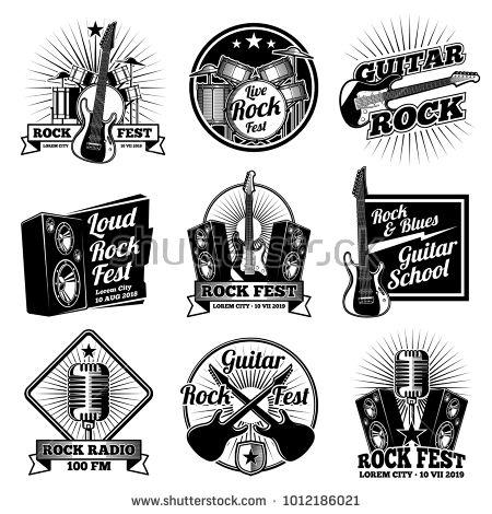 Stock Vector: Rock and roll music vector labels. Vintage heavy metal emblems set. Rock music emblem for festival or radio illustration -
