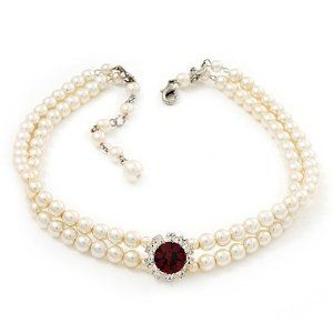 2 Strand Ivory Pearl Style CZ Wedding Choker Necklace (With Ruby Red Central Stone)
