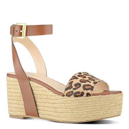Leopard and Rope Edoile Wedge Sandals | Nine West