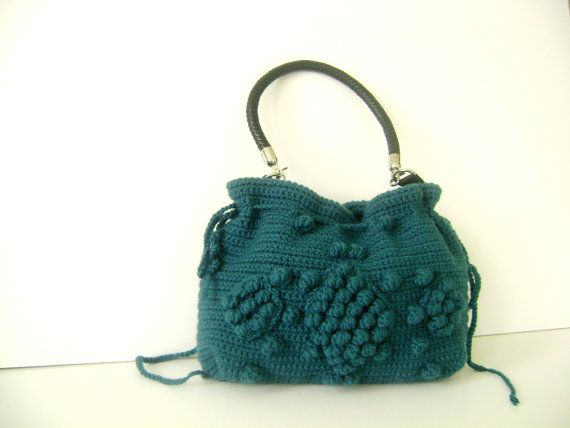 Handmade Petrol Blue  Knit Bag Celebrity StyleCrochet by hibbe, $135.00