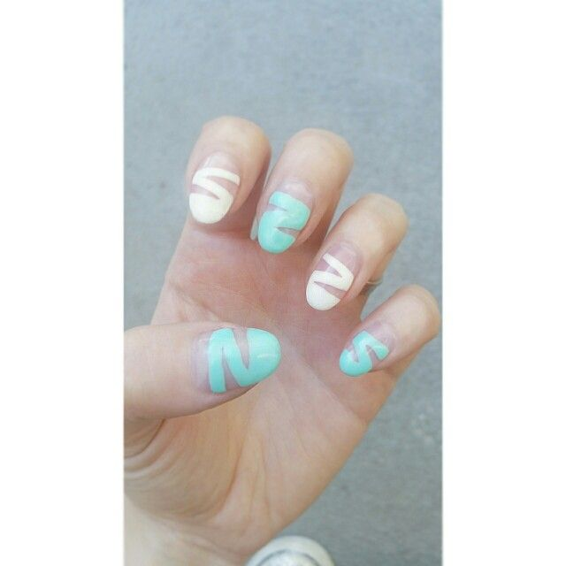 #nail #art #semilac # white #mint