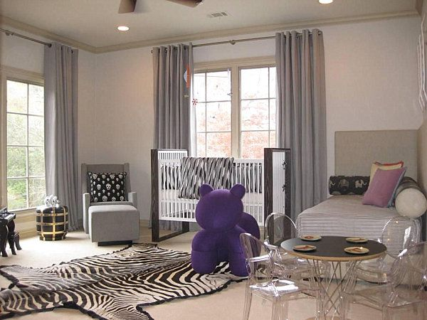 Shades of beige and purple in a modern nursery