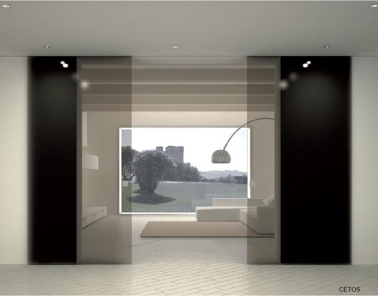 Porta in vetro scorrevole a due ante con guida incassata porte interne e divisori in vetro - Guida per porta scorrevole ...