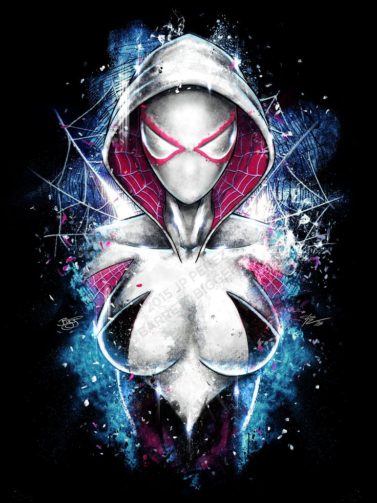 """barrettbiggers: """"Spider Gwen Epic Portrait Painting. Artwork collaboration between artists J.P. Perez and Barrett Biggers. Find premium quality prints on our Etsy store! """""""