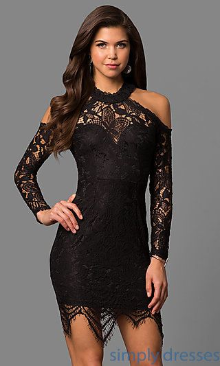 Shop long-sleeve short lace party dresses at Simply Dresses. Cold-shoulder semi-formal dresses under $100 with sweetheart linings and unique hems.