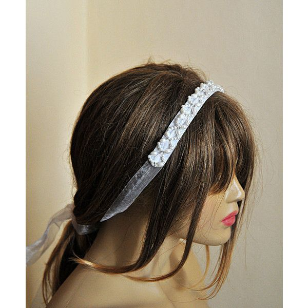 Bridal Pearl Headband white Pearl wedding headband by selenayy ($39) found on Polyvore