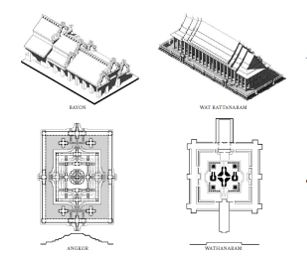 Comparison of Khmer and Thai Buddhist architectural styles from The Golden Lands book