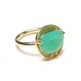 each set with a unique rose cut chrysoprase, the 18kt gold base gently cups the stone in the most exquisite and delicate of settings.