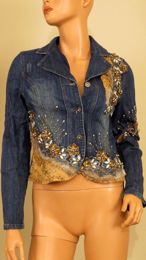 Long Sleeve Beads Lace Flower Fur Stitched West 36th Blue Denim Jacket 51162 great inspiration for how to upcycle a denim jacket. Cute.