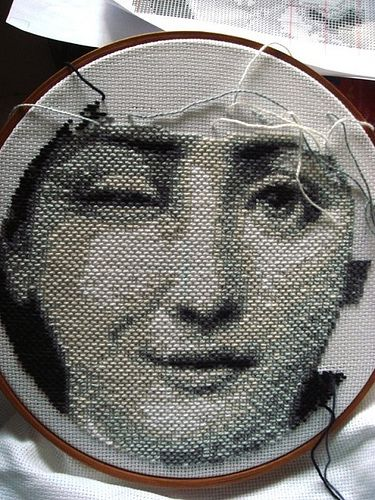 Fornasetti inspiration worked on Aida cloth...traditionally cross stitch is worked on this