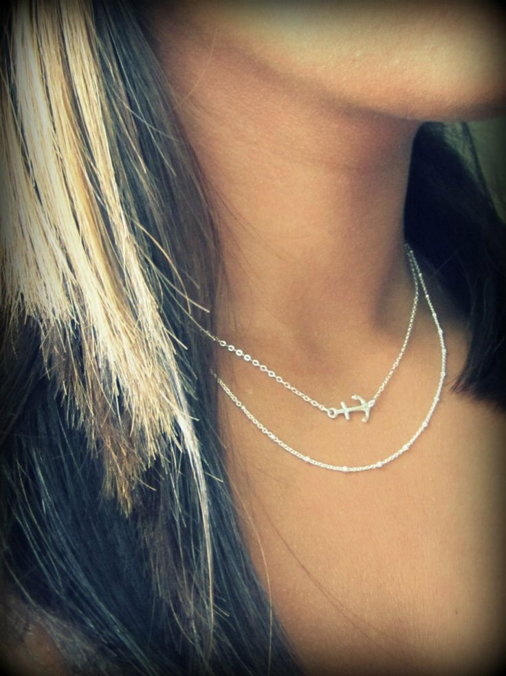 Sideways Anchor Necklace, little sterling silver anchor necklace. $23.50, via Etsy.