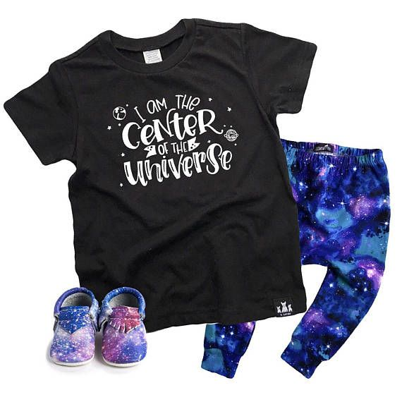 """This fun kids graphic tee is perfect for any child who thinks they're the center of the universe! Trendy & Cool Kids Black & White Shirt """"The Center Of The Universe"""""""