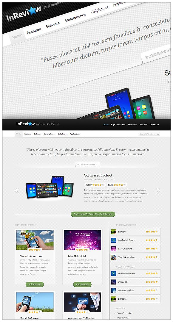 InReview is an advanced Review Theme that allows you to transform your WordPress blog into a fully-functional ratings website.    http://www.elegantthemes.com/affiliates/idevaffiliate.php?id=492