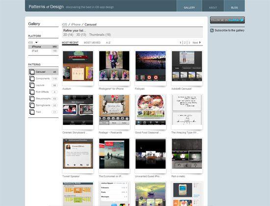 Ten site for mobile design patterns.