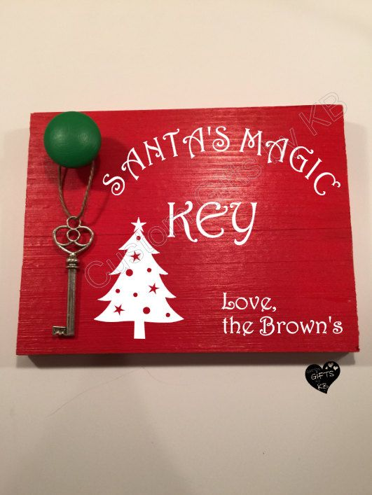 Personalized Santa's  Magic Key, Christmas Decor, Key for Santa, Magic Key, Christmas Wood Sign, Glitter Keys, Santa's Key, Custom Key -