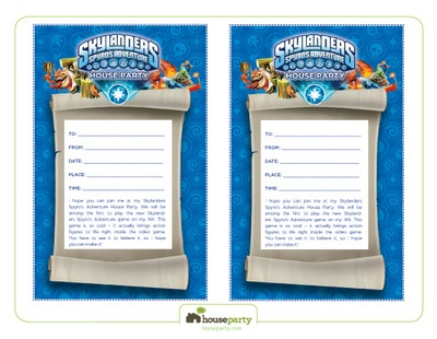 Skylanders Fill In Invitations