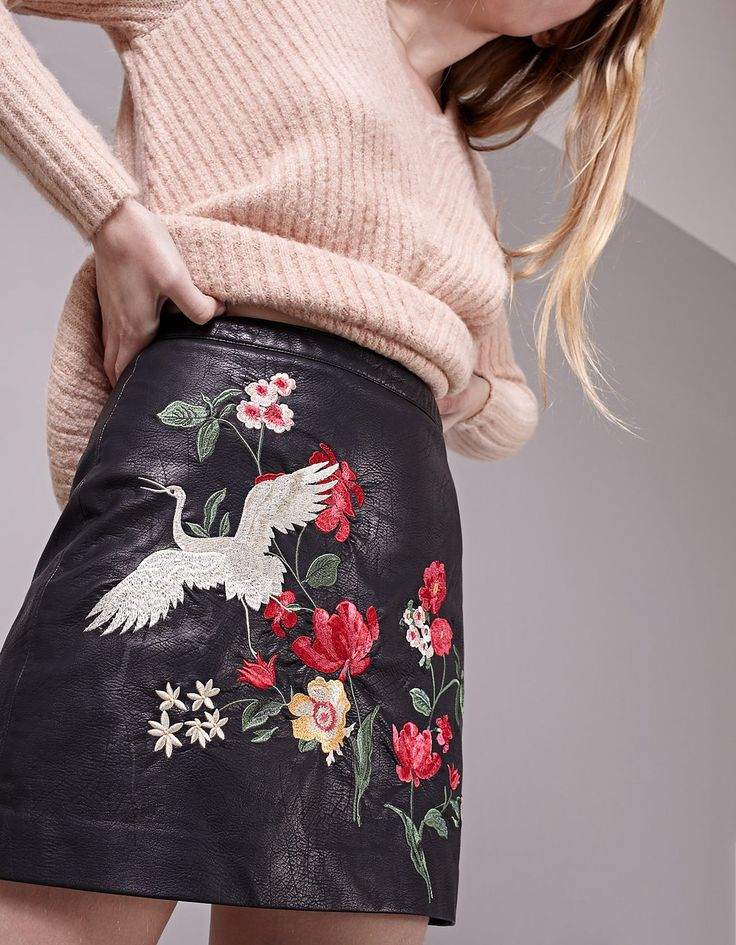 Embroidered leather look skirt
