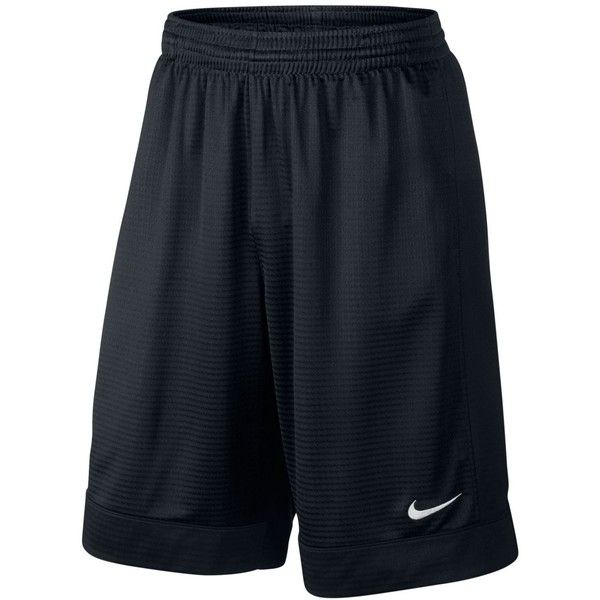 "Nike Men's 11"" Fastbreak Striped Basketball Shorts ($30) ❤ liked on Polyvore featuring men's fashion, men's clothing, men's activewear, men's activewear shorts and black"