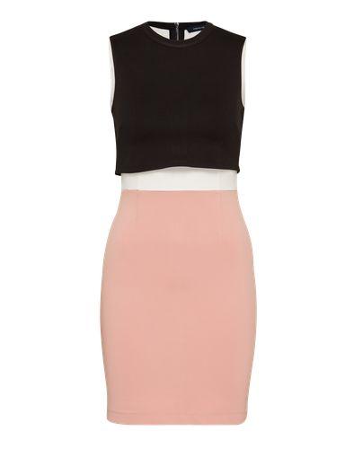 Figurbetontes Etui-Kleid von French Connection in stretchiger Qualität. Ein markanter Colour-Blocking-Look strukturiert das elegante Evening Dress. Ein angesetztes Layering-Element in kontrastierendem Design lockert das Gesamtbild zusätzlich auf.