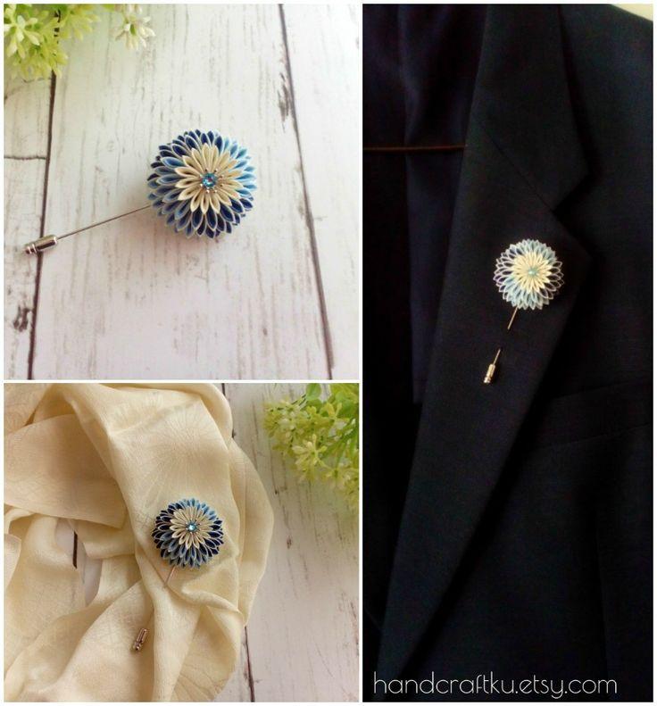 #lapelpin #brooch #boutonniere #kanzashiflower #tsumamizaiku #handmade #blueflower #chrysanthemum #handmade #etsy
