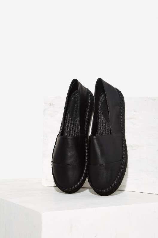 Grey City Nox Leather Espadrille Shoe - Black - What's New : Shoes