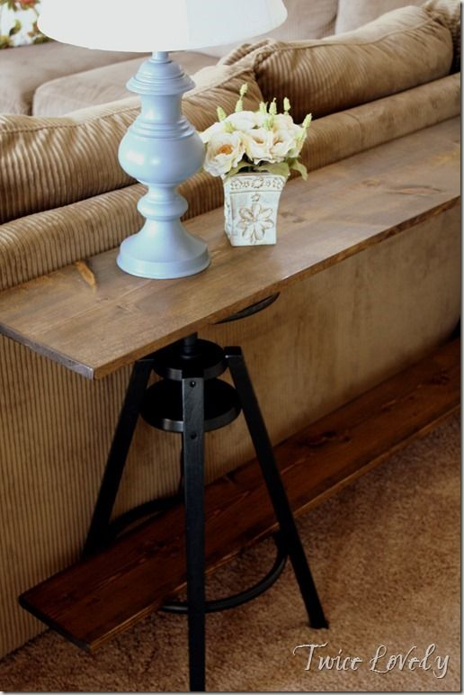 basement idea diyreuse bar stools to make a sofa table - Ikea Bar Table Hack