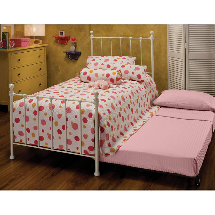 molly kids metal trundle beds twin in white
