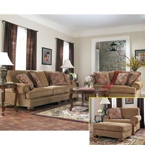 Nebraska furniture mart ashley traditional brown sofa for Living room furniture 0 finance