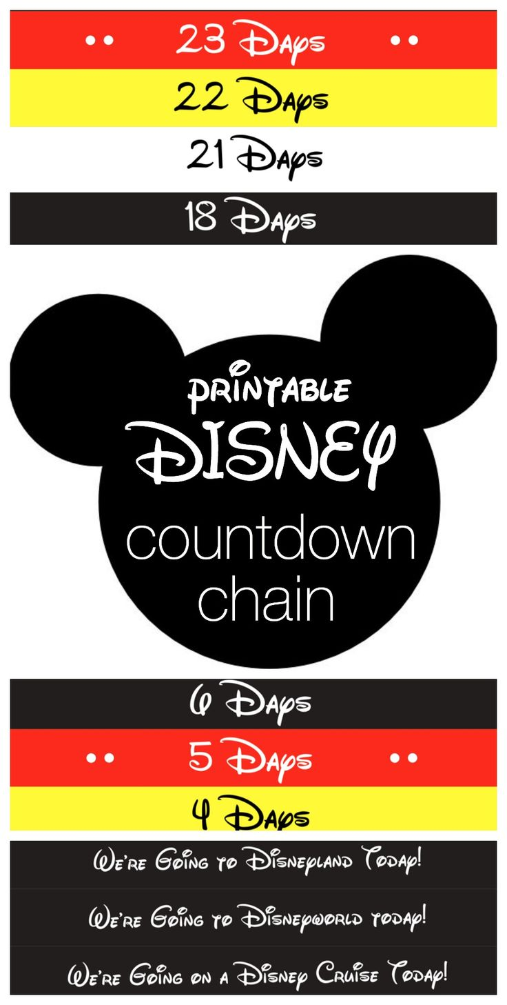 A Disney Trip wouldn't be planned without a Disney Countdown Chain. This printable can be made up to 30 days away from your Disney Trip!