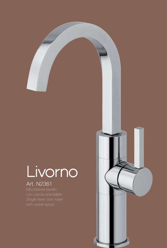 LIVORNO - CROMO miscelatore lavello con canna orientabile