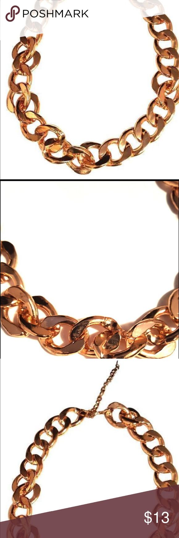 Chunky Gold Tone Figaro Necklace Garcia Vega Figaro Gold Tone Chain Link Necklace Thick set figaro style chain link necklace with extender lobster clasp closure detailed design. simple one layer link style, #goldtone #necklace #fashion #jewelryaccessories vintage Jewelry Necklaces