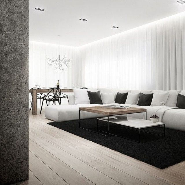 // monocrome // #apartment #architecture #wood #white #whitespace #whiteinterior #parquet #interior #inspiration #interiortoyou #interiorforall #decor #design #details #dailyinterior #dailyinspiration #livingroom #blackandwhite #moderninterior #monocrome #theapartment13