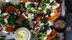 Spice roast pumpkin with garlic yoghurt and almonds