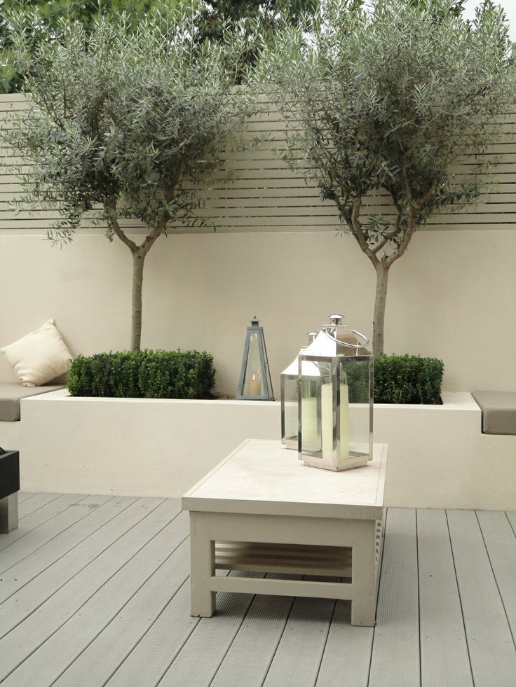 bench seating and planters. sage green