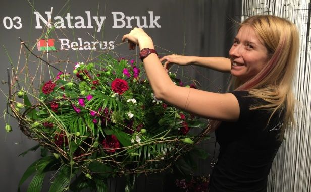 """Fleurop - Interflora World Cup Berlin Day 1, Surprise Assignment called """"100% Dianthus"""". Check out this design by Nataly Bruk from Belarus, making off and interview on www.flowerweb.com..."""