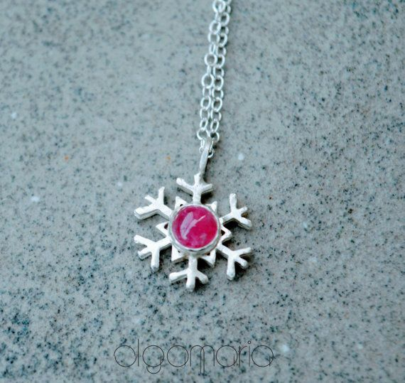 Snowflake Necklace Turmaline Pendant Winter Necklace by OlgaMaria Jewel Inspirations