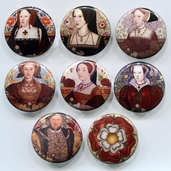 One for every day of the week... The Tudors King Henry VIII and his Six Wives badges Set by tartx, $7.00