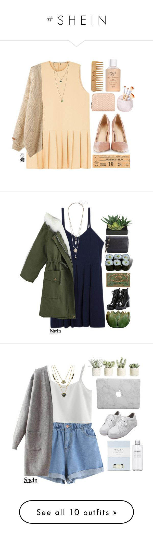 """# S H E I N"" by credentovideos ❤ liked on Polyvore featuring Fresh, Bottega Veneta, The Body Shop, Jura, Lux-Art Silks, Chicwish, Laura Ashley, Allstate Floral, Muji and WithChic"